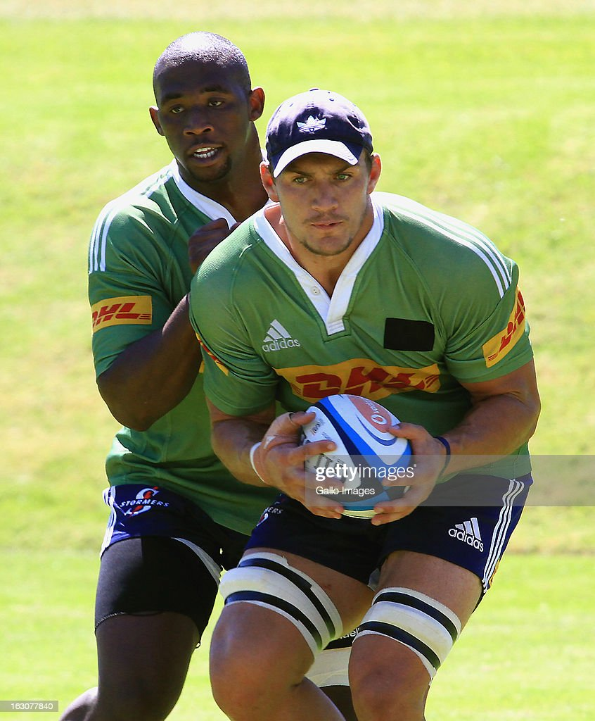 Crusaders Super Rugby Training Session: Siya Kolisi And Rynhardt Elstadt In Action During A DHL