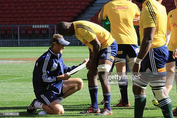 AFRICA MAY 23 Siya Kolisi being strapped up during the DHL Stormers training session and press conference at DHL Newlands on May 23 2012 in Cape Town...