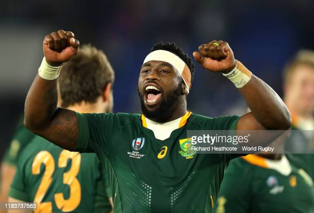 Siya Kolisi captain of South Africa celebrates during the Rugby World Cup 2019 SemiFinal match between Wales and South Africa at International...