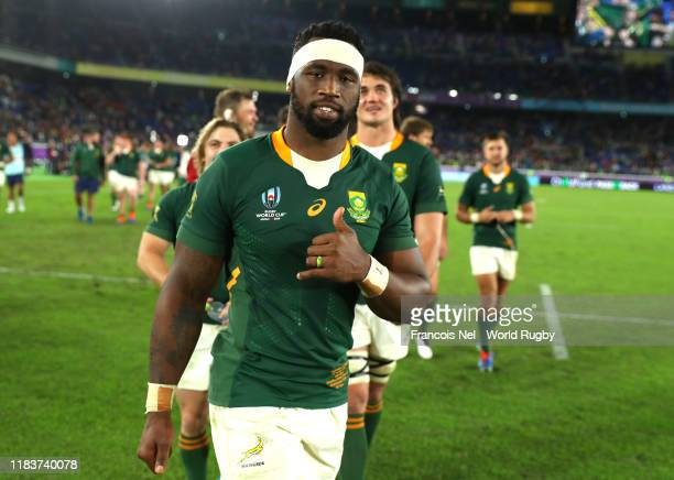 Siya Kolisi captain of South Africa thanks the crowd during the Rugby World Cup 2019 SemiFinal match between Wales and South Africa at International...