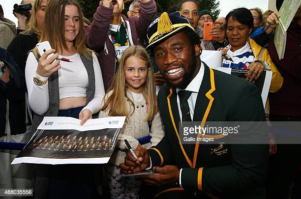 Siya Kolisi during the 2015 Rugby Wolrd Cup Springboks Welcome function at Eastbourne Winter Gardens on September 13 2015 in Eastbourne England