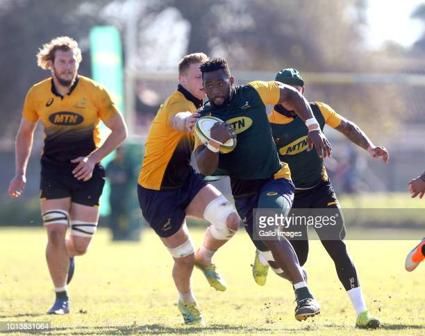 Siya Kolisi during the Springbok Open Training Session and Fan Engagement at Belhar Rugby Club on August 09 2018 in Cape Town South Africa