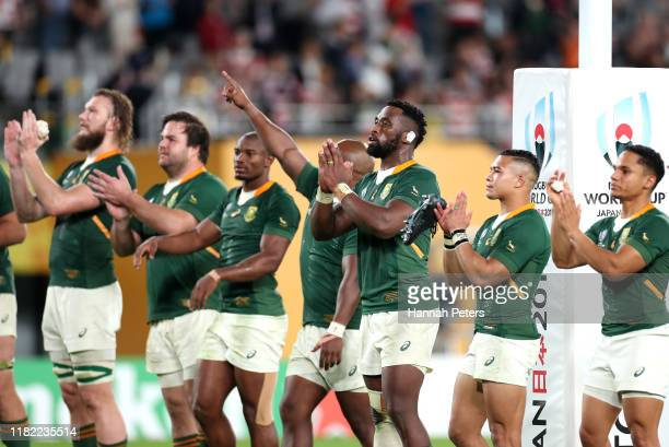 Siya Kolisi of South Africa applauds fans after the Rugby World Cup 2019 Quarter Final match between Japan and South Africa at the Tokyo Stadium on...