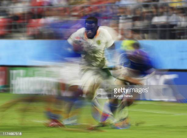 Siya Kolisi of South Africa breaks through a tackle during his team's World Cup Pool B match against Namibia on Sept 28 in Toyota central Japan