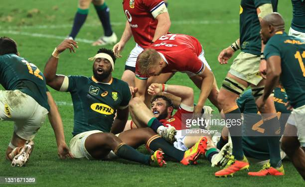 Siya Kolisi of South Africa celebrates after tackling Robbie Henshaw to save a try during the 2nd test match between South Africa Springboks and the...