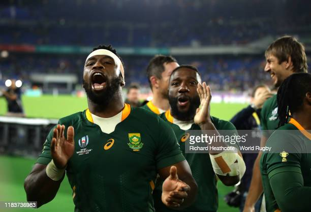Siya Kolisi of South Africa celebrates during the Rugby World Cup 2019 Semi-Final match between Wales and South Africa at International Stadium...