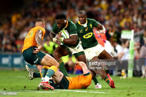 Siya Kolisi of South Africa charges forward during The Rugby Championship match between the Australian Wallabies and the South Africa Springboks at...