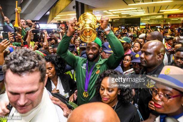 Siya Kolisi of the Springboks during the South African national rugby team arrival media conference at OR Tambo International Airport on November 05...
