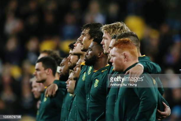 Siya Kolisi of the Springboks faces the haka with the team during The Rugby Championship match between the New Zealand All Blacks and the South...