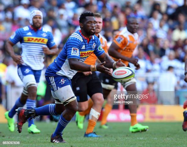 Siya Kolisi of the Stormers during the Super Rugby match between DHL Stormers and Toyota Cheetahs at DHL Newlands Stadium on April 01 2017 in Cape...
