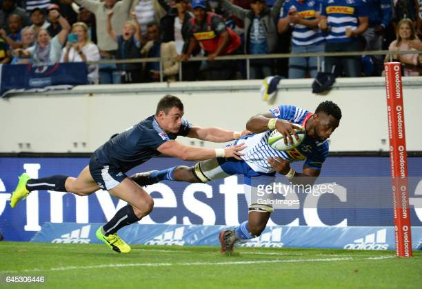 Siya Kolisi of the Stormers goes over to score a try during the Super Rugby match between DHL Stormers and Vodacom Bulls at DHL Newlands on February...