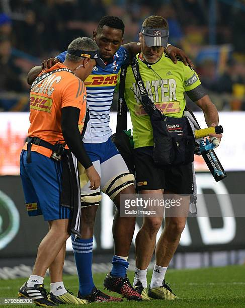 Siya Kolisi of the Stormers injured during the Super Rugby Quarter Final match between the DHL Stormers and Chiefs at DHL Newlands on July 23 2016 in...