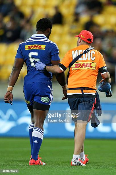 Siya Kolisi of the Stormers leaves the field with an injury during the round eight Super Rugby match between the Hurricanes and the Stormers at...