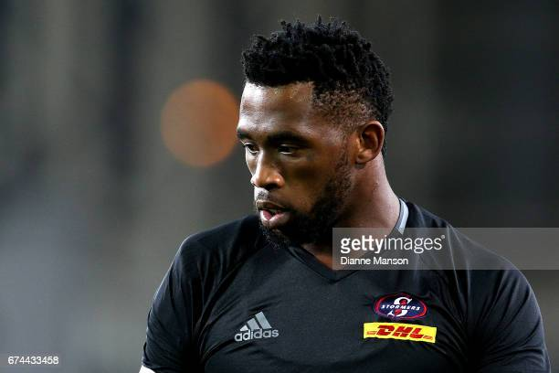 Siya Kolisi of the Stormers looks on during team warm up ahead of the round 10 Super Rugby match between the Highlanders and the Stormers at Forsyth...