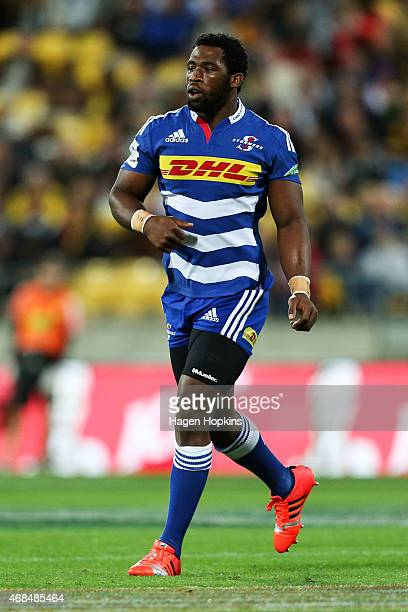 Siya Kolisi of the Stormers looks on during the round eight Super Rugby match between the Hurricanes and the Stormers at Westpac Stadium Stadium on...