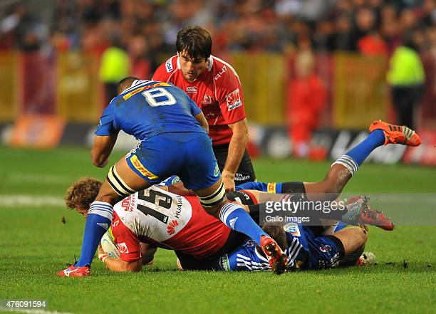 Siya Kolisi of the Stormers makes the tackle during the Super Rugby match between DHL Stormers and Emirates Lions at DHL Newlands Stadium on June 06...