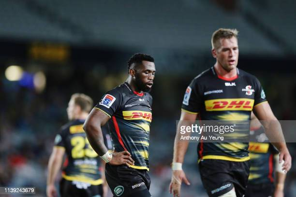 Siya Kolisi of the Stormers reacts during the round 7 Super Rugby match between the Blues and the Stormers at Eden Park on March 30 2019 in Auckland...