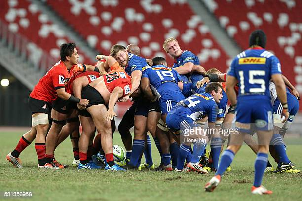 Siya Kolisi of the Stormers tries to tackle Takuma Asahara of the Sunwolves during the round 12 Super Rugby match between the Sunwolves and the...