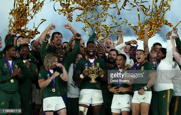 Siya Kolisi, the South Africa captain, celebrates with team mates after their victory during the Rugby World Cup 2019 Final between England and South...