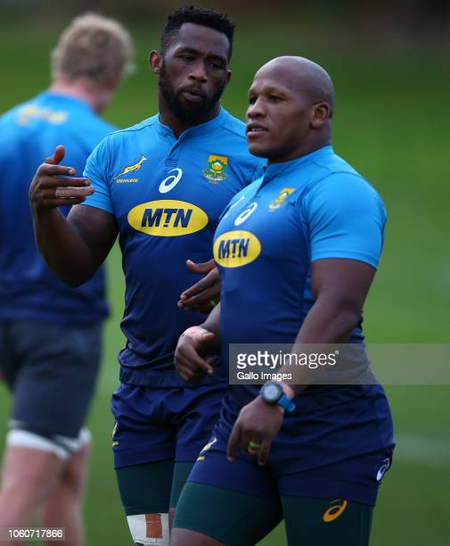 Siya Kolisi with Bongi Mbonambi during the South African national rugby team training session at Peffermill Sports Fields on November 12 2018 in...