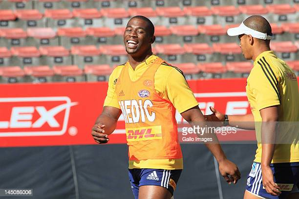 AFRICA MAY 23 Siya Kolisi with his Medic top during the DHL Stormers training session and press conference at DHL Newlands on May 23 2012 in Cape...