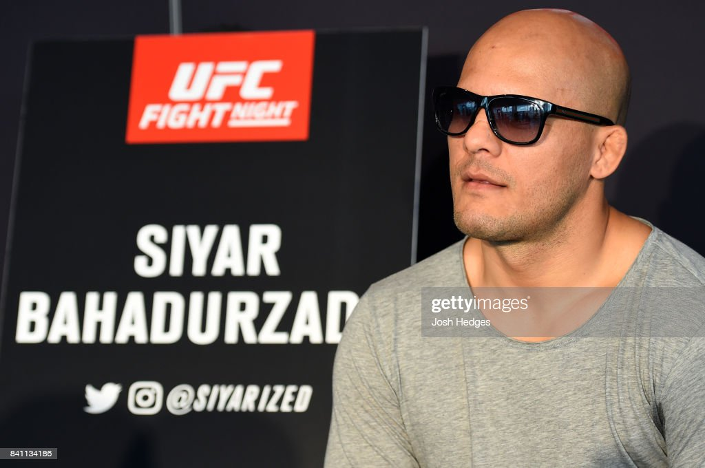 Siyar Bahadurzada of Afghanistan interacts with media during the UFC Ultimate Media Day at the Inntel Rotterdam Centre Hotel on August 31, 2017 in Rotterdam, Netherlands.