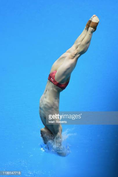 Siyi Xie of China competes during the Men's 3m Springboard Final on day two of the FINA Diving World Cup Sagamihara at Sagamihara Green Pool on March...