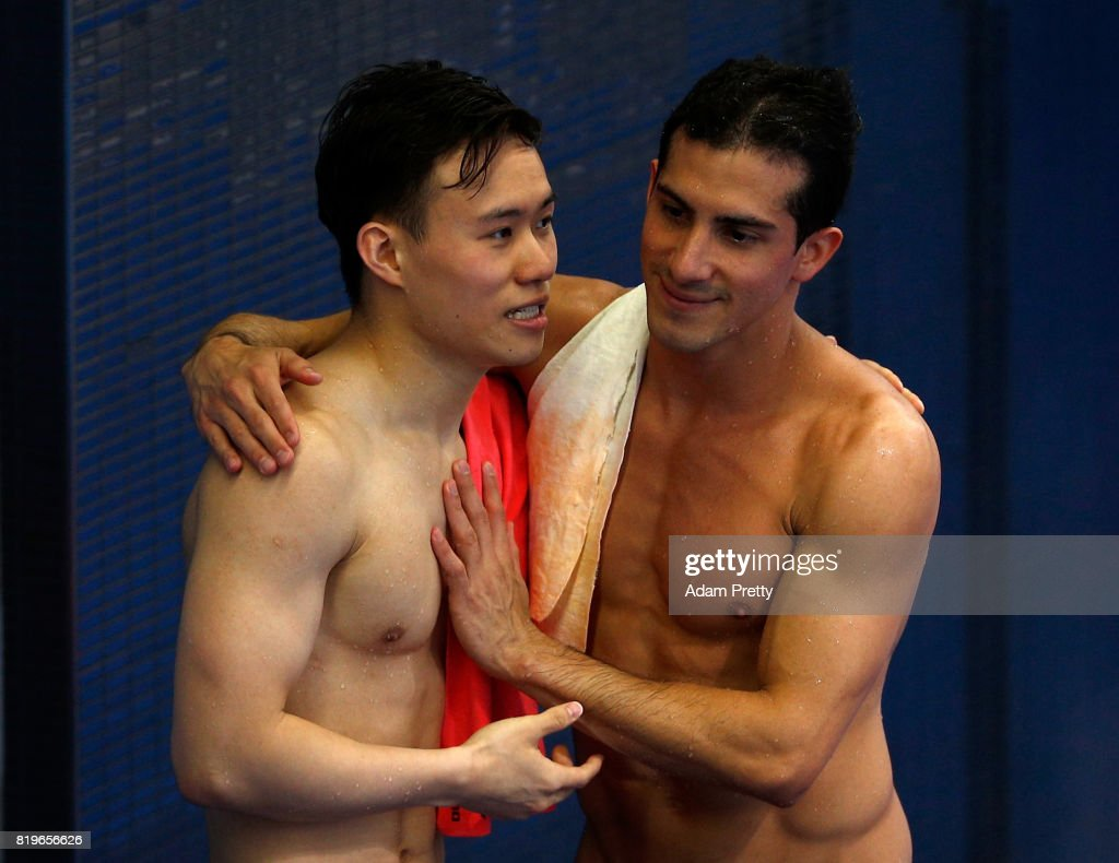 Xie siyi gives china its fifth gold in diving. Siyi Xie of China is congratulated by Rommel Pacheco ...