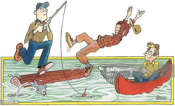 Size as needed Dennis Haas color cartoonstyle illustration of three fishermen one is falling off a log and another is trying to catch him in a net
