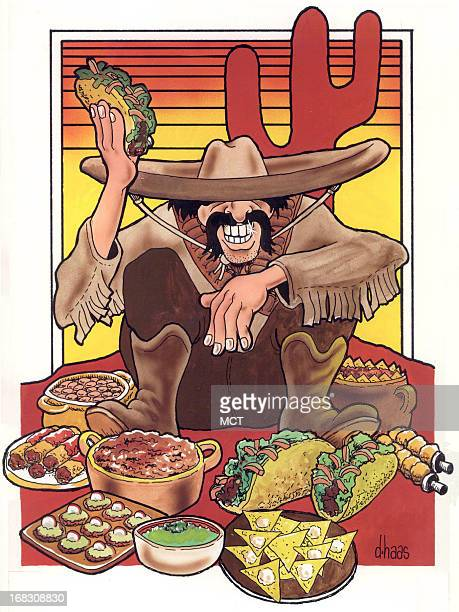 Size as needed Dennis Haas color illustration of man surrounded by Mexican food as he sits in desert underneath a cactus
