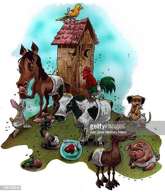 Size as needed Jim Hummel color illustration of barnyard animals wearing diapers and holding their noses as they gather around an outhouse For use...