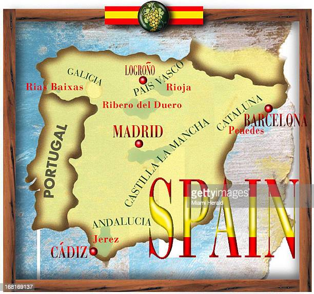 Size as needed Philip Brooker color illustration Map of Spain with wine areas labeled