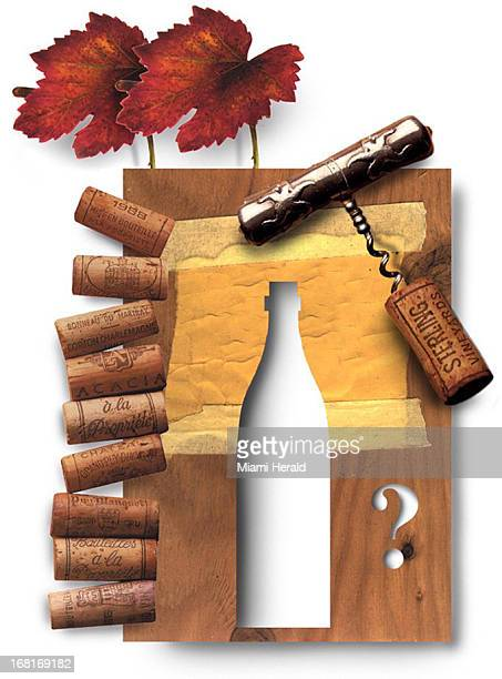 Size as needed Philip Brooker color illustration montage of corkscrew corks fall leaves wine bottle and question mark Can be used with questionanswer...