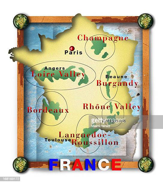 Size as needed Philip Brooker color illustration of map of France with wine regions labeled