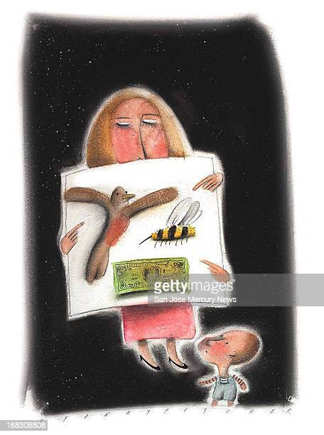 Size as needed Sydney Fischer color illustration of boy looking at chart woman is holding up chart shows birds bees and money For use with stories...
