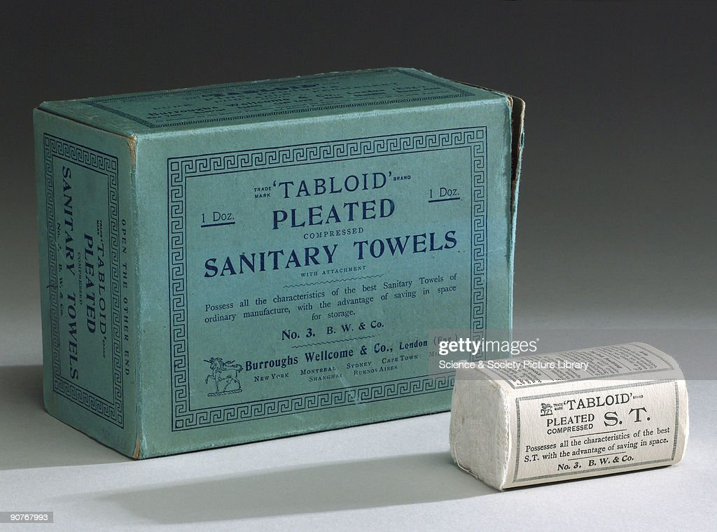 Twelve �Tabloid� pleated compressed sanitary towels, 1910-1940. : News Photo