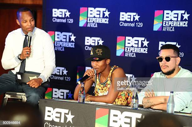 Sizwe DhlomoEmtee and AKA at the BET Experience Africa press conference on December 11 2015 at the Radisson Blue Hotel in Johannesburg South Africa...