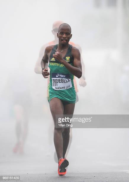 Sizwe Ndebele of South Africa in action during Men's 20 kilometres Race Walk of IAAF World Race Walking Team Championships Taicang 2018 on May 6 2018...