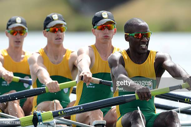 Sizwe Ndlovu John Smith Matthew Brittain and James Thompson of South Africa compete on their way to winning gold in the Lightweight Men's Four final...