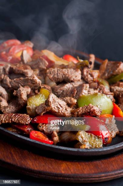 Sizzling beef fajitas straight from the stove