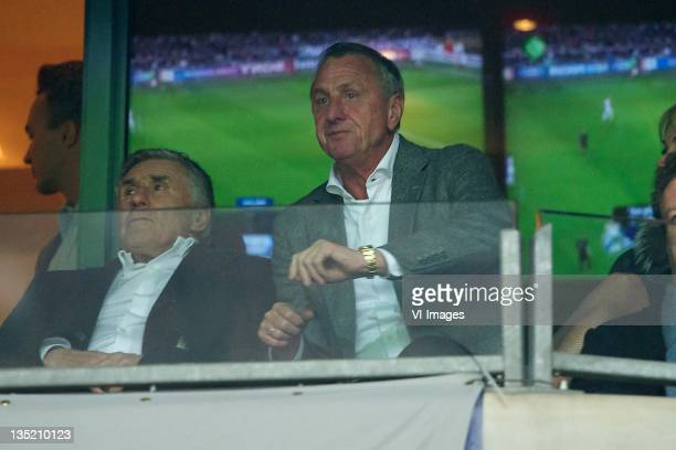 Sjaak Swart,Johan Cruijff. During the Champions League match between Ajax Amsterdam and Real Madrid at the Amsterdam Arena on December 7, 2011 in...