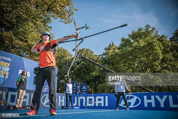 Sjef van den Berg of Neetherlands shoots during the mens recurve finals at the Hyundai Archery World Cup Final 2016 on September 25 2016 in Odense...