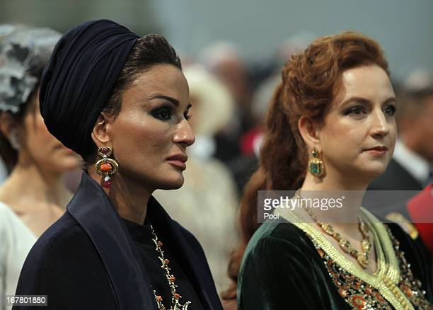 Sjeikha Moza bint Nasser al Misned of Qatar and Princess Lalla Salma of Morocco attend the inauguration of HM King Willem Alexander of the...