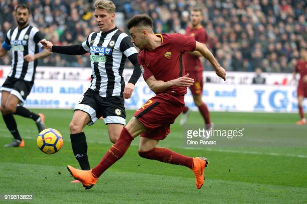 SJens Stryger Larsen of Udinese Calcio competes with Stephan El Shaarawy of AS Roma during the serie A match between Udinese Calcio and AS Roma at...