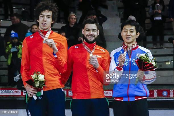Sjinkie Knegt Dylan Hoogerwerf Victor An podium of 500 m Men at ISU European Short Track Speed Skating Championships 2017 in Turin Italy on 14...