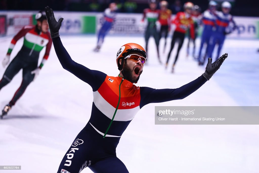 Sjinkie Knegt of Netherlands celebrate after the Men's 5000m relay finals race during day two of ISU World Short Track Championships at Rotterdam Ahoy Arena on March 12, 2017 in Rotterdam, Netherlands.