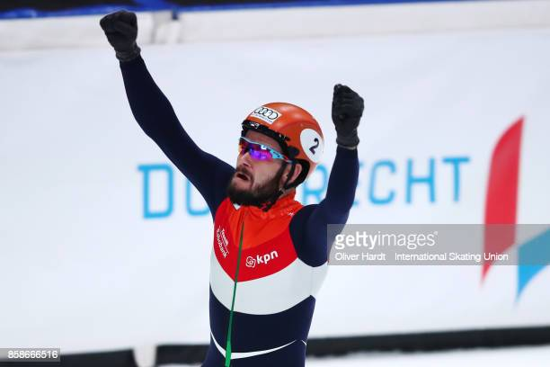 Sjinkie Knegt of Netherlands celebrates after the Mens 5000m Relay semi finals race during the Audi ISU World Cup Short Track Speed Skating at...