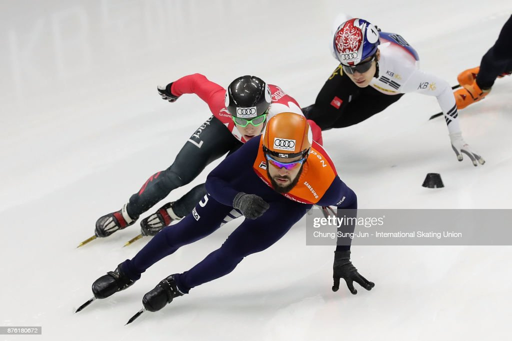 Sjinkie Knegt of Netherlands, Charle Cournoyer of Canada and Seo Yi-Ra of South Korea compete in the Men 1000m Quarterfinals during during the Audi ISU World Cup Short Track Speed Skating at Mokdong Ice Rink on November 19, 2017 in Seoul, South Korea.
