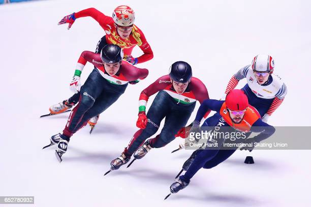 Sjinkie Knegt of Netherlands competes in the Men«s 1000m quarter finals race during day two of ISU World Short Track Championships at Rotterdam Ahoy...