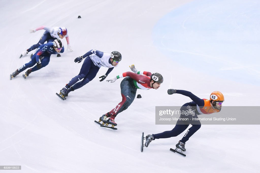 Sjinkie Knegt of Netherlands leads the pack in the Men's 1500m final during day two of the ISU World Cup Short Track at EnergieVerbund Arena on February 5, 2017 in Dresden, Germany.